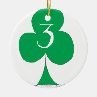 Lucky Irish 3 of Clubs, tony fernandes Round Ceramic Decoration