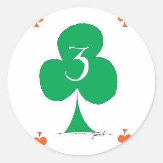 Lucky Irish 3 of Clubs, tony fernandes Round Sticker