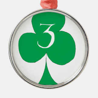 Lucky Irish 3 of Clubs, tony fernandes Silver-Colored Round Decoration