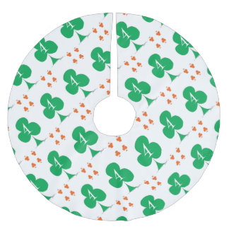 Lucky Irish 4 of Clubs, tony fernandes Brushed Polyester Tree Skirt