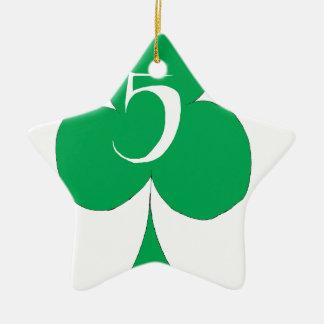 Lucky Irish 5 of Clubs, tony fernandes Ceramic Star Decoration