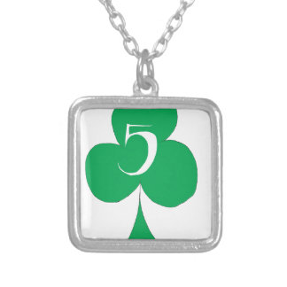 Lucky Irish 5 of Clubs, tony fernandes Silver Plated Necklace