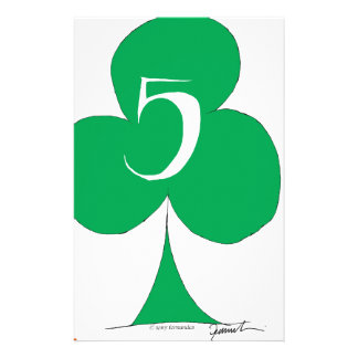Lucky Irish 5 of Clubs, tony fernandes Stationery Paper