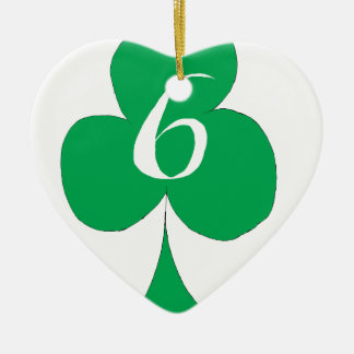 Lucky Irish 6 of Clubs, tony fernandes Ceramic Heart Decoration