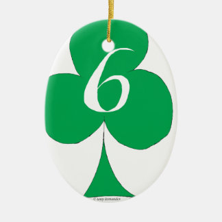 Lucky Irish 6 of Clubs, tony fernandes Ceramic Oval Decoration