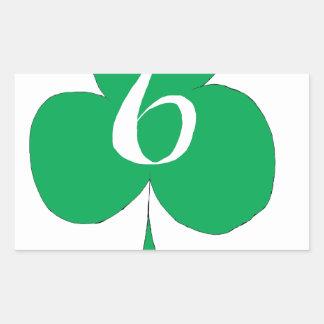 Lucky Irish 6 of Clubs, tony fernandes Rectangular Sticker