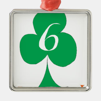 Lucky Irish 6 of Clubs, tony fernandes Silver-Colored Square Decoration