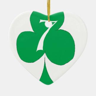Lucky Irish 7 of Clubs, tony fernandes Ceramic Heart Decoration