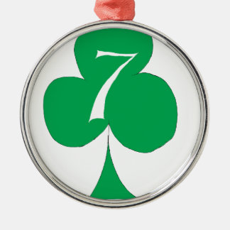 Lucky Irish 7 of Clubs, tony fernandes Silver-Colored Round Decoration