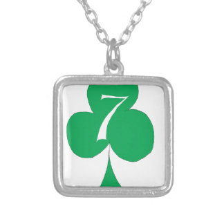 Lucky Irish 7 of Clubs, tony fernandes Silver Plated Necklace