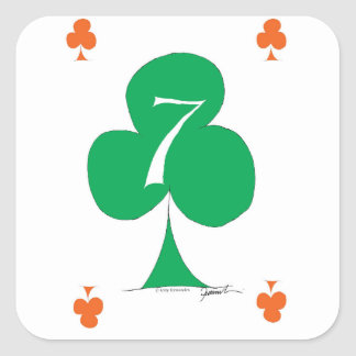 Lucky Irish 7 of Clubs, tony fernandes Square Sticker