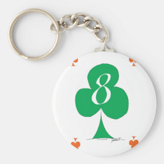 Lucky Irish 8 of Clubs, tony fernandes Basic Round Button Key Ring