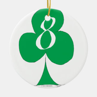 Lucky Irish 8 of Clubs, tony fernandes Round Ceramic Decoration