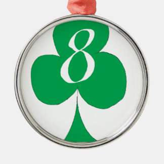 Lucky Irish 8 of Clubs, tony fernandes Silver-Colored Round Decoration