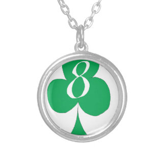 Lucky Irish 8 of Clubs, tony fernandes Silver Plated Necklace