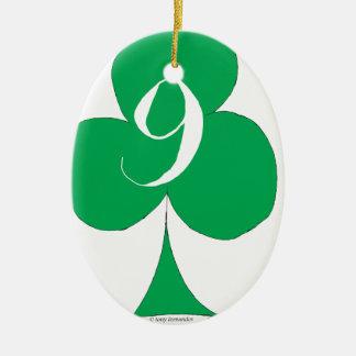 Lucky Irish 9 of Clubs, tony fernandes Ceramic Oval Decoration