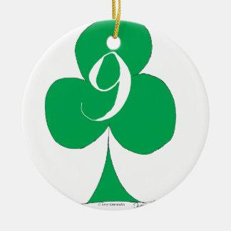 Lucky Irish 9 of Clubs, tony fernandes Round Ceramic Decoration