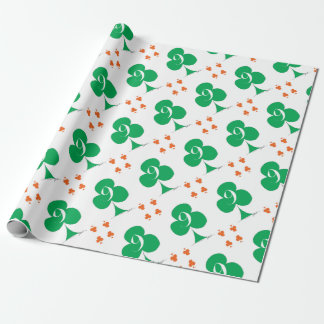 Lucky Irish 9 of Clubs, tony fernandes Wrapping Paper