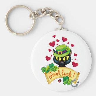 Lucky Irish Cat! Basic Round Button Key Ring