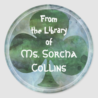 LUCKY IRISH CLOVER - From the Library of... Round Sticker