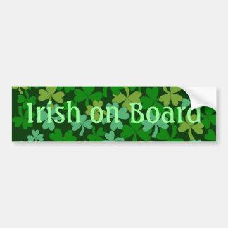 Lucky Irish on Board Green Shamrocks Custom Bumper Sticker