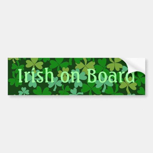 Lucky Irish on Board Green Shamrocks Custom Bumper Stickers