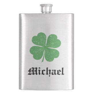 Lucky Irish shamrock /add name Flask