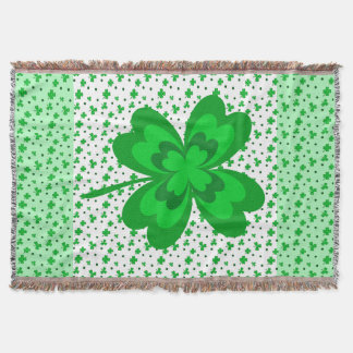 Lucky Irish Shamrocks Four Leaf Clover Green White Throw Blanket