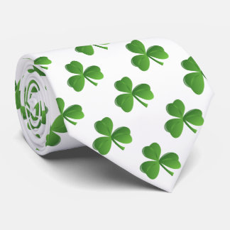 Lucky Irish Three Leaf Shamrock Clover Tie