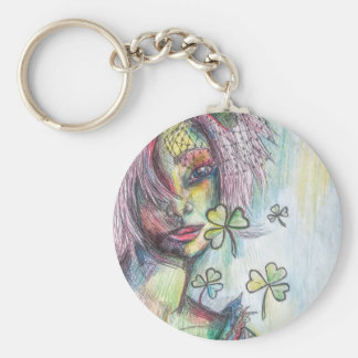 Lucky Lady Basic Round Button Key Ring
