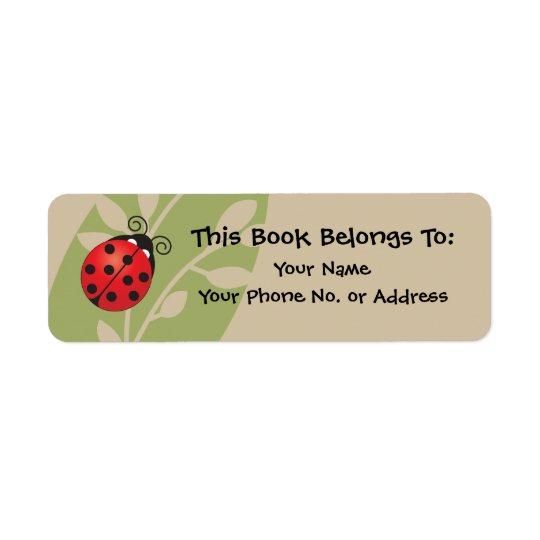 Lucky Ladybug Book Sticker Return Address Label