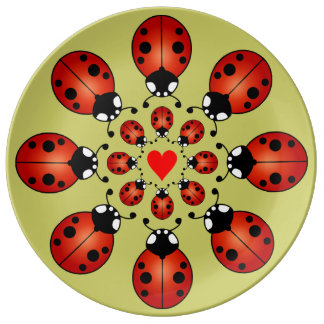 Lucky Ladybugs Sixteen Ladybirds Circles Heart Plate