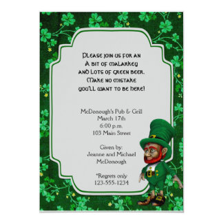Lucky Leprechaun on Shamrocks Party Invitation