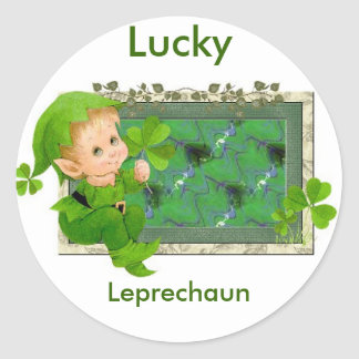 Lucky Leprechaun Round Sticker
