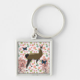 Lucky Llama Pink Floral Keychain