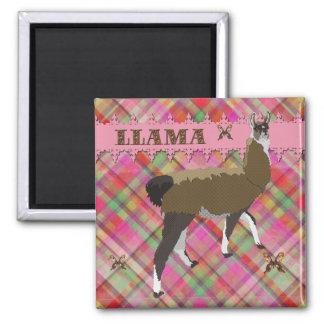 Lucky Llama Plaid Magnet