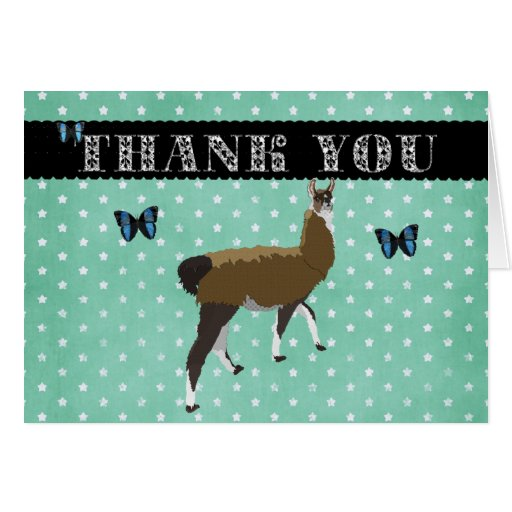 Lucky Llama Thank You Card