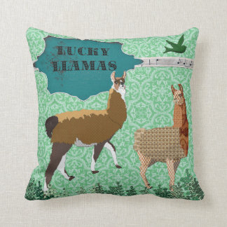 Lucky Llamas Green Mojo Pillow Cushion