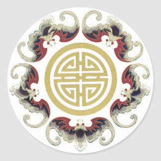 Lucky Longevity Chinese Charm Round Sticker