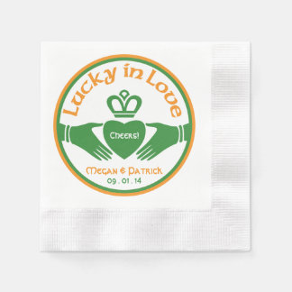 Lucky Love Irish Claddagh Personalized Wedding Disposable Serviette