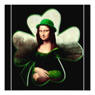 Lucky Mona Lisa Shamrock 13 Cm X 13 Cm Square Invitation Card