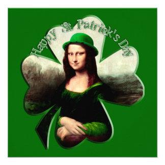 Lucky Mona Lisa St Patrick s Day Shamrock Invitation