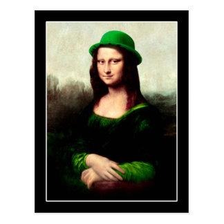 Lucky Mona Lisa St Patrick's Day Shamrock Postcard