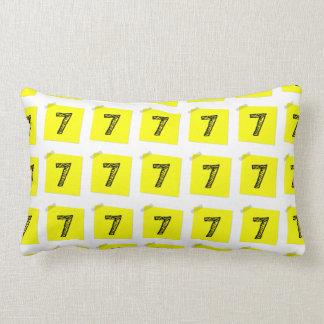 Lucky Number 7 Yellow Chit Lumbar Pillow Throw Cushion