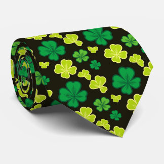 Lucky pattern with clover leaves. tie