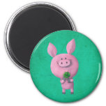 Lucky pig with lucky four leaf clover refrigerator magnet