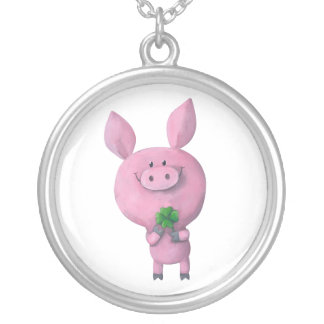 Lucky pig with lucky four leaf clover round pendant necklace