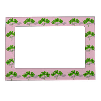 Lucky Pink & Green Four Leaf Clover Picture Frame