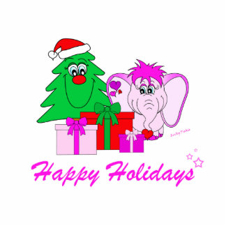 Lucky Pinkie Happy Holidays Sculpture Standing Photo Sculpture