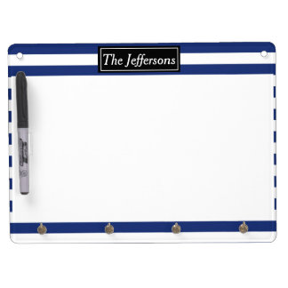 Lucky Point Blue and White Stripes Dry Erase Board With Key Ring Holder